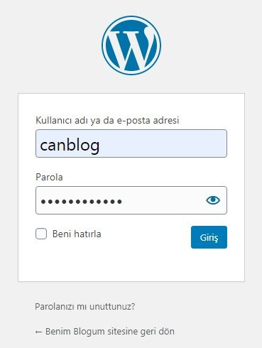 wordpress admin paneli girisi
