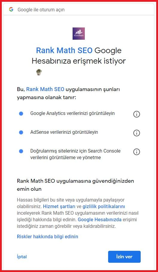 rank math ayarlari gmail baglantisi