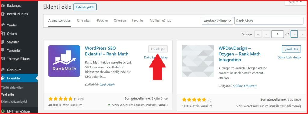 rank math seo kurulumu